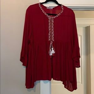 Hazel -Daryle Peasant Top -Red